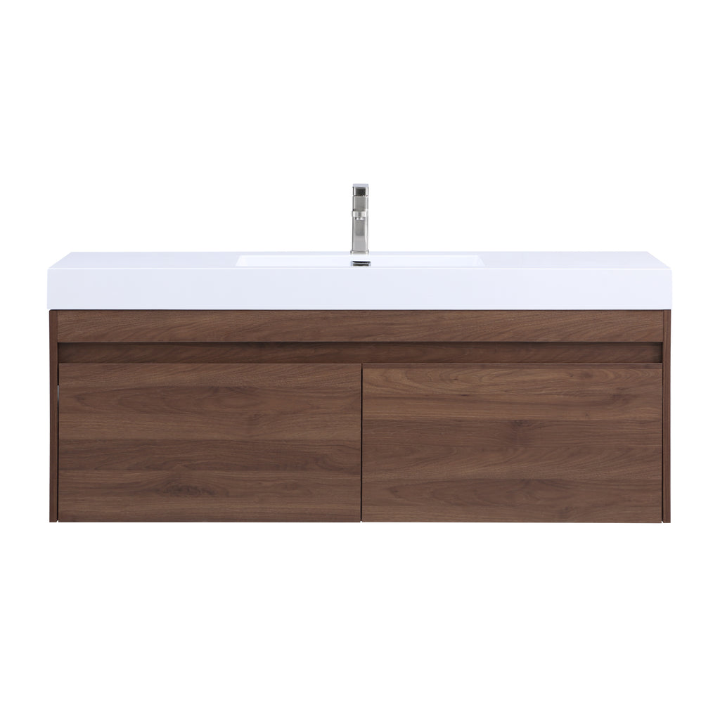 Stufurhome Eternal 59 inch Wall Mounted Single Sink Bathroom Vanity, No Mirror