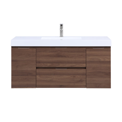 Stufurhome Helena 49 inch Wall Mounted Single Sink Bathroom Vanity, No Mirror