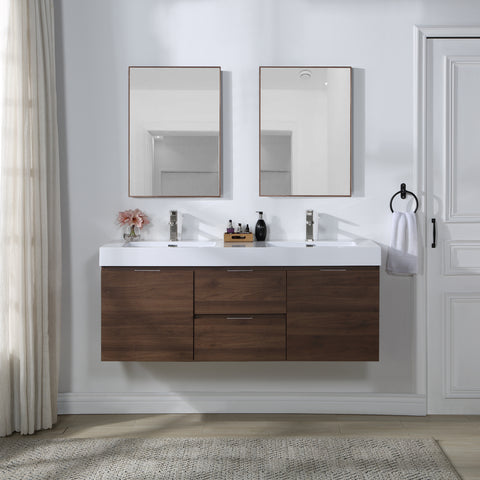 Stufurhome Valeria 59 inch Wall Mounted Double Sink Bathroom Vanity, No Mirror