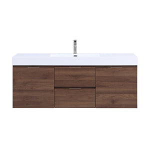 Stufurhome Valeria 59 inch Wall Mounted Single Sink Bathroom Vanity, No Mirror