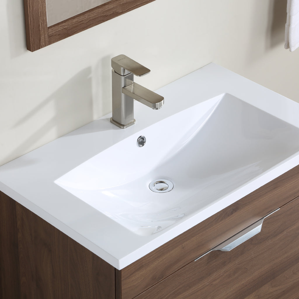 Stufurhome Delilah 30 inch Wall Mounted Single Sink Bathroom Vanity, No Mirror