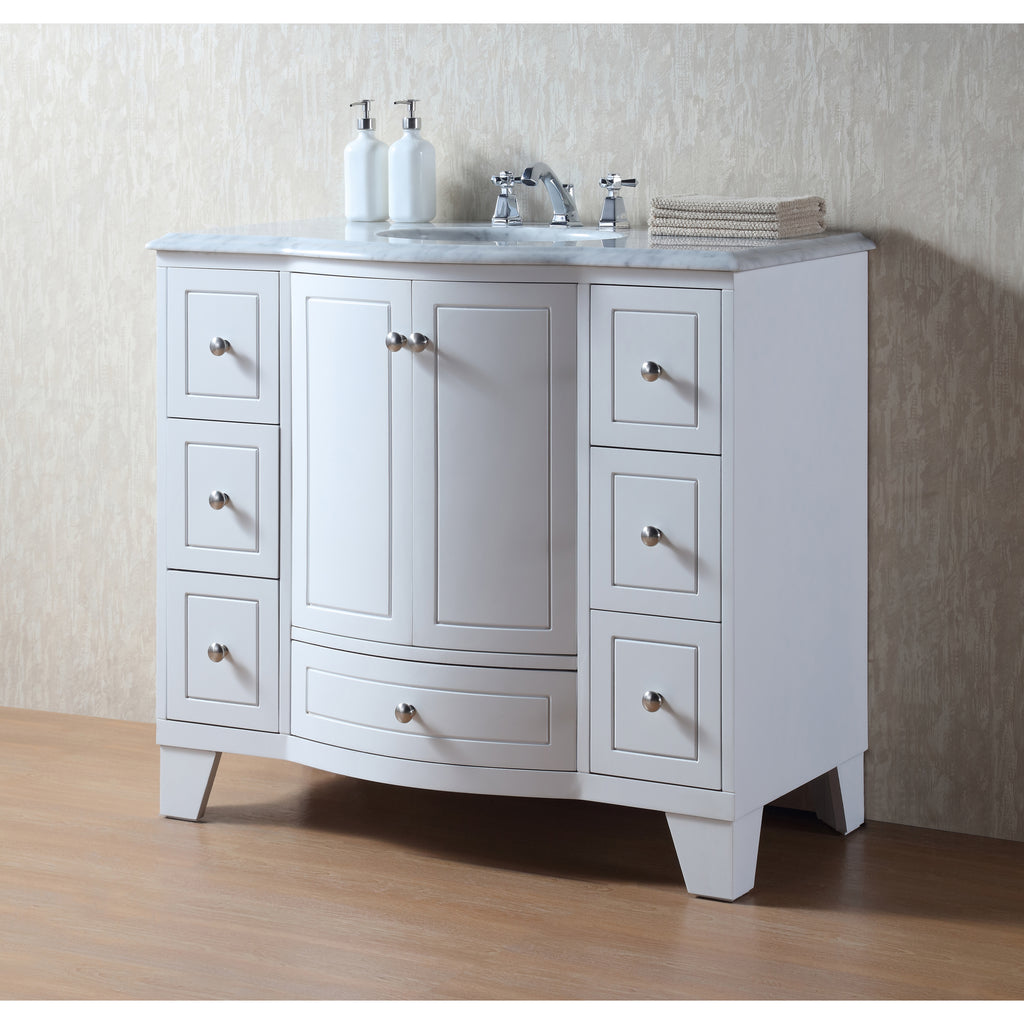 Stufurhome 40 inch Grand Cheswick White Single Sink Vanity ...