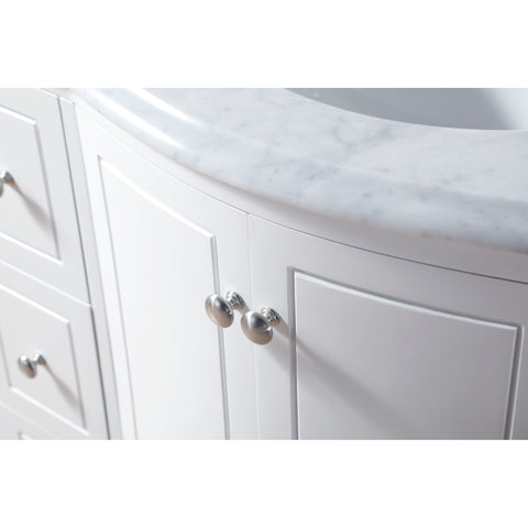 Stufurhome 40 inch Grand Cheswick White Single Sink Vanity with Carrara Marble Top