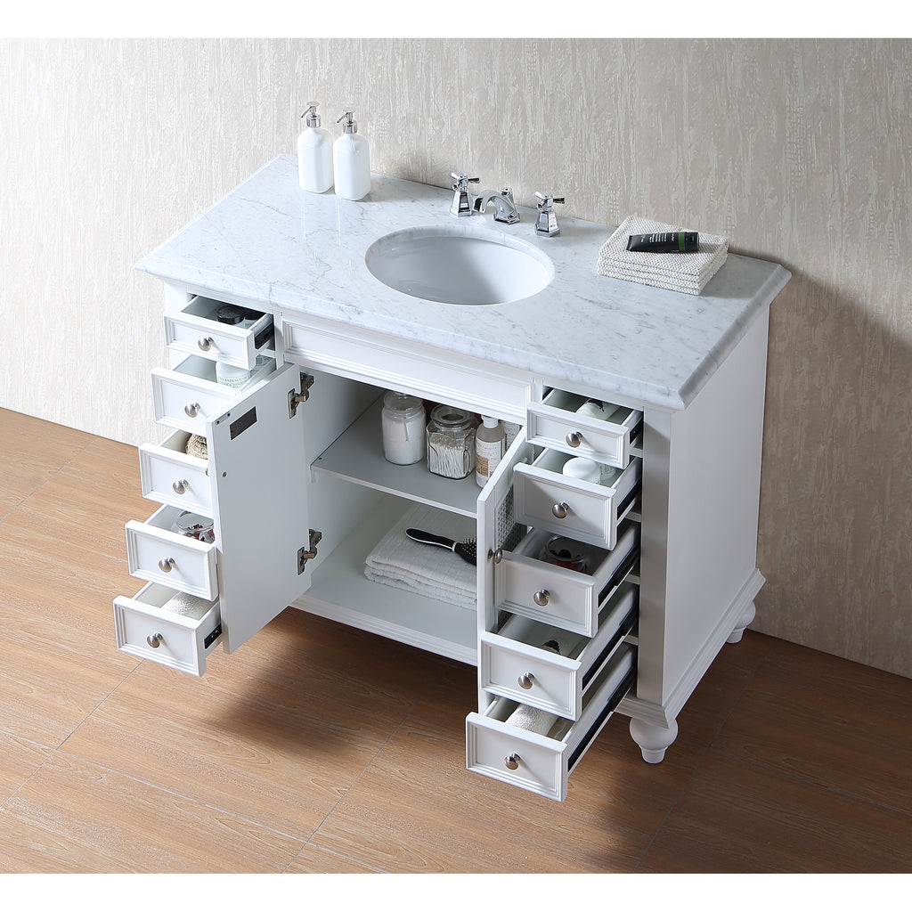 Stufurhome 48 inch Rory White Single Sink Vanity with Carrara Marble Top