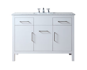 Stufurhome Atreus 48 inch White Single Sink Bathroom Vanity with Carrara Marble Top