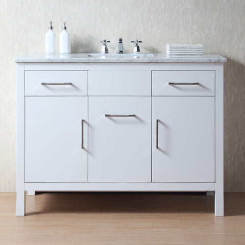 Stufurhome Atreus 48 Inch White Single Sink Bathroom Vanity With