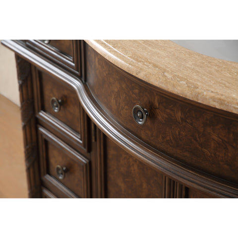 Stufurhome 48 inch Amelia Single Sink Vanity with Travertine Marble Top