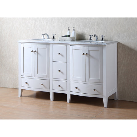 Stufurhome 60 inch Locke White Double Sink Vanity with Carrara Marble Top