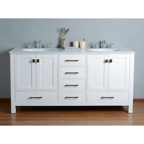 Stufurhome 72 inch Malibu Pure White Double Sink Bathroom Vanity