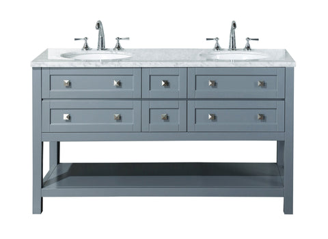 Stufurhome Marla 60 inch Grey Double Sink Bathroom Vanity