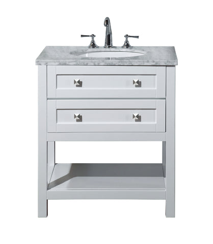 Stufurhome Marla 30 inch White Single Sink Bathroom Vanity