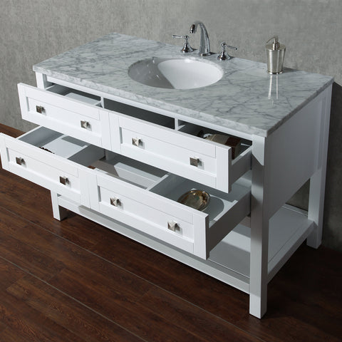 Stufurhome Marla 48 inch White Single Sink Bathroom Vanity