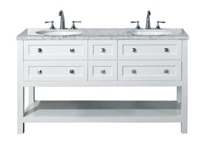 Stufurhome Marla 60 inch White Double Sink Bathroom Vanity