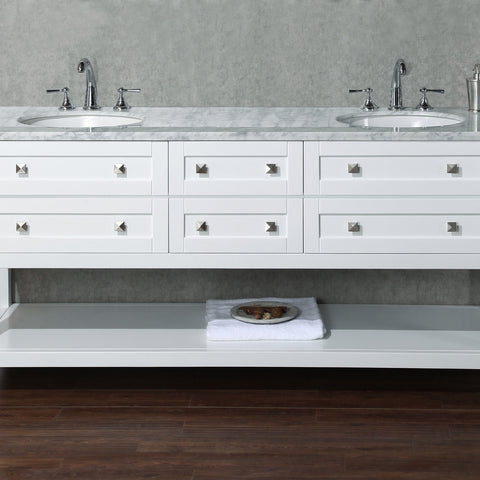 Stufurhome Marla 72 inch White Double Sink Bathroom Vanity