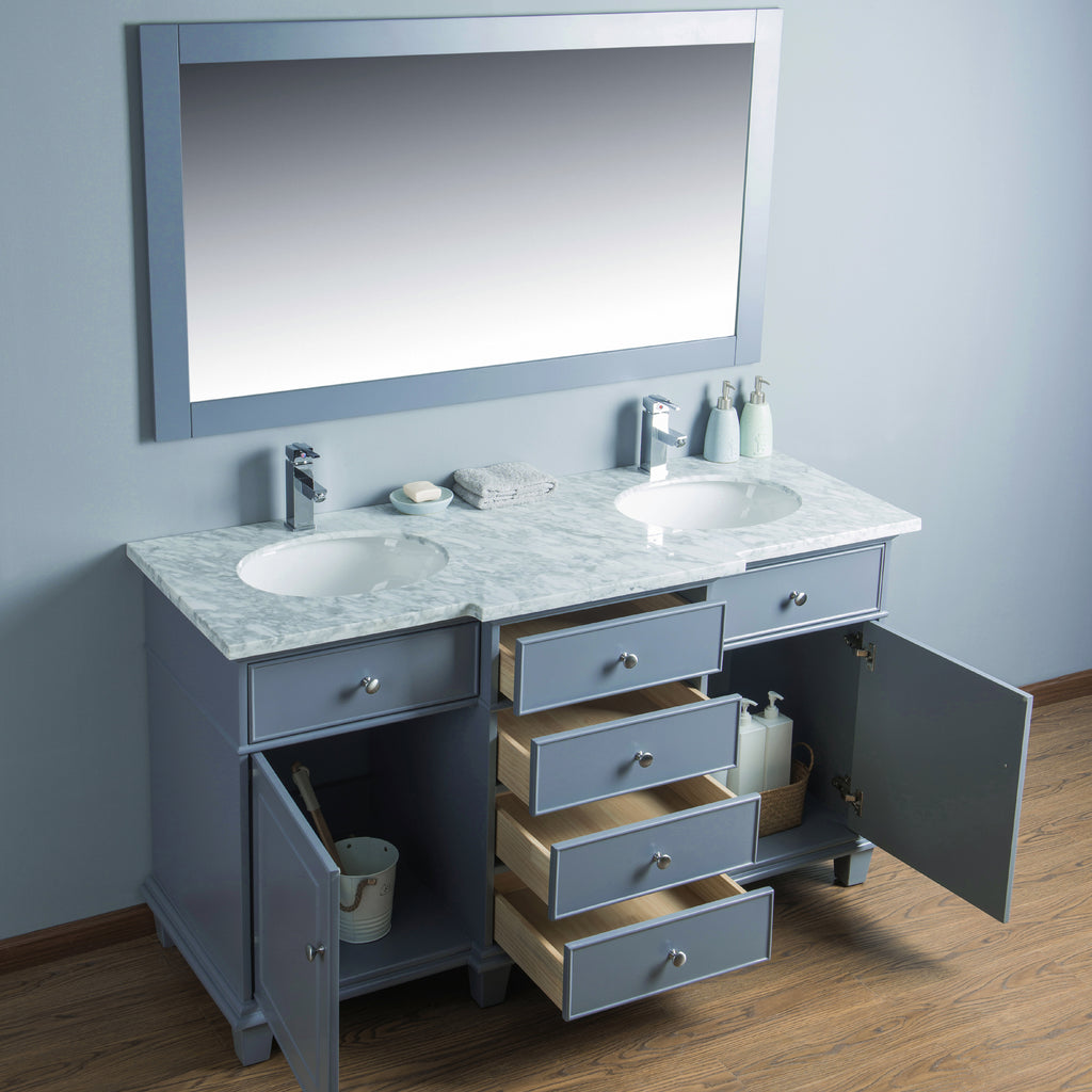 Stufurhome Cadence Grey 60 inch Double Sink Bathroom Vanity with Mirror