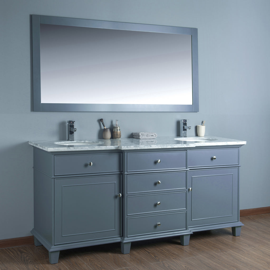Stufurhome Cadence Grey 72 inch Double Sink Bathroom Vanity with Mirror