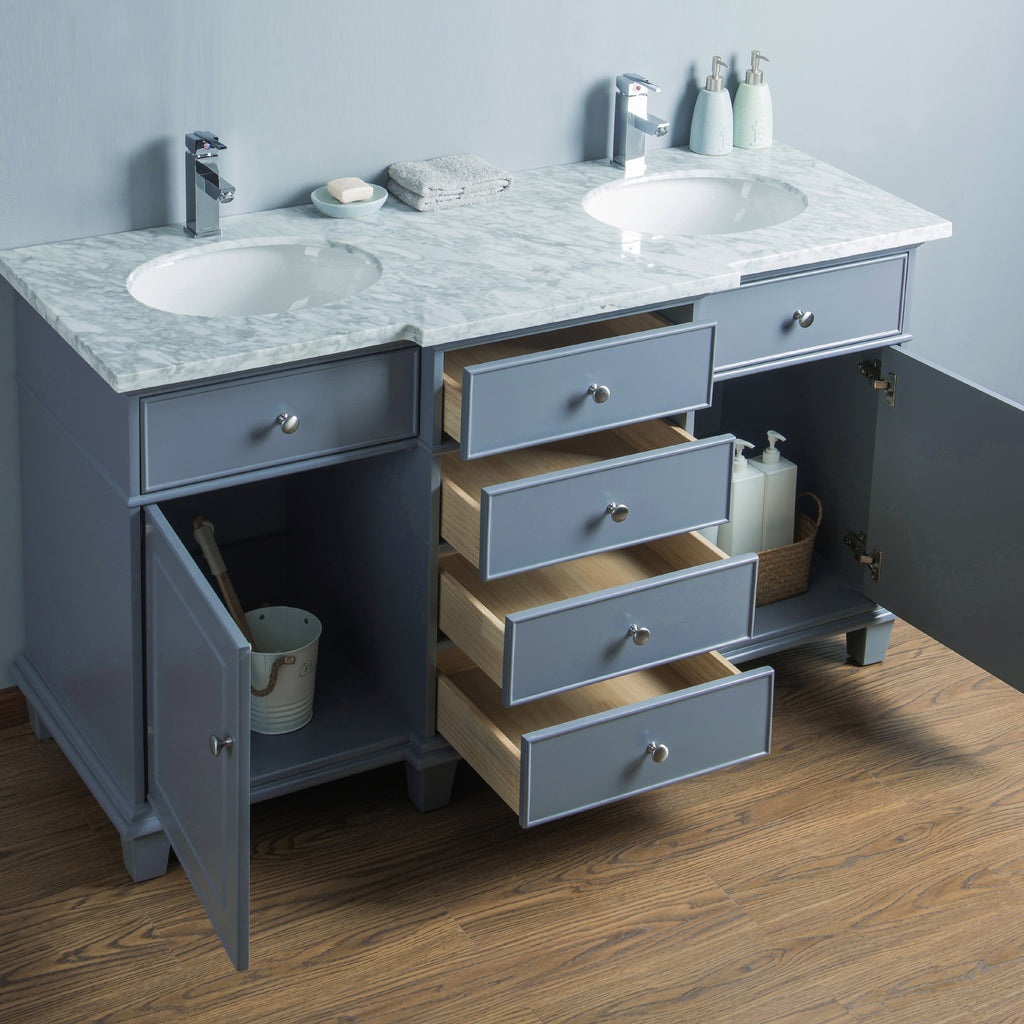 Stufurhome Cadence Grey 60 inch Double Sink Bathroom Vanity
