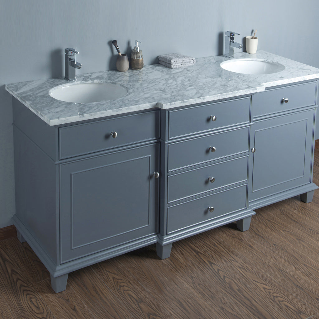 Stufurhome Cadence Grey 72 inch Double Sink Bathroom Vanity