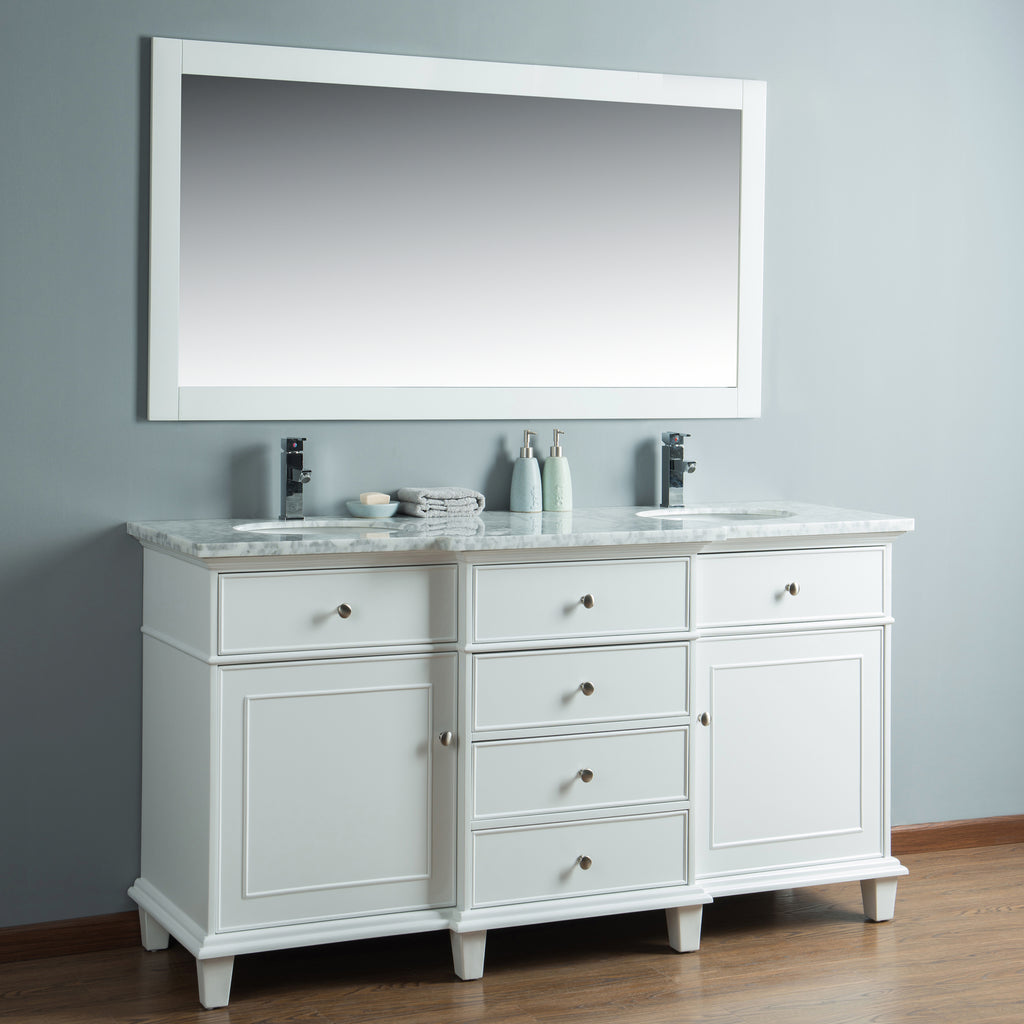 Stufurhome Cadence White 60 inch Double Sink Bathroom Vanity with Mirror
