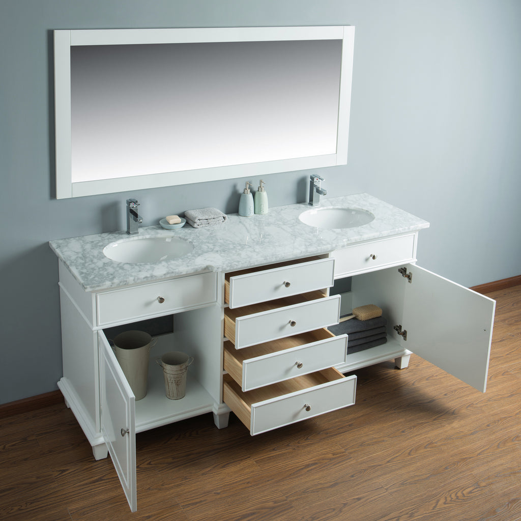 Stufurhome Cadence White 72 Inch Double Sink Bathroom Vanity With Mirr Stufurhome