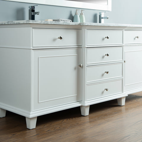 Stufurhome Cadence White 72 inch Double Sink Bathroom Vanity with Mirror