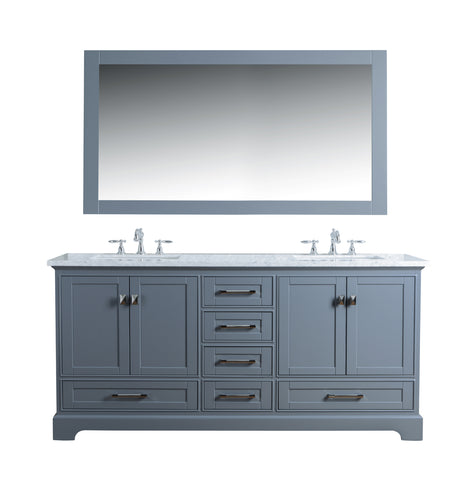 Stufurhome Newport Grey 72 inch Double Sink Bathroom Vanity with Mirror
