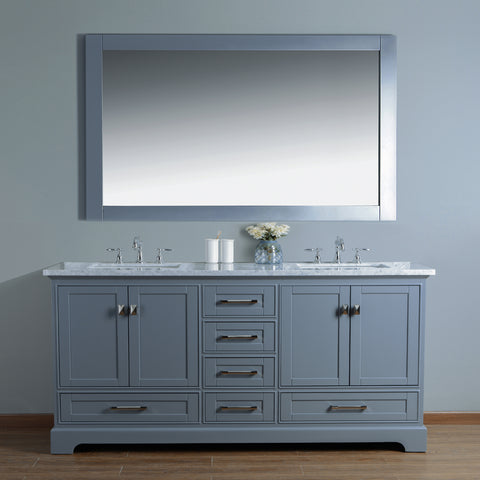 Awesome Stufurhome Newport Grey 72 Inch Double Sink Bathroom Vanity With Mirror Complete Home Design Collection Epsylindsey Bellcom