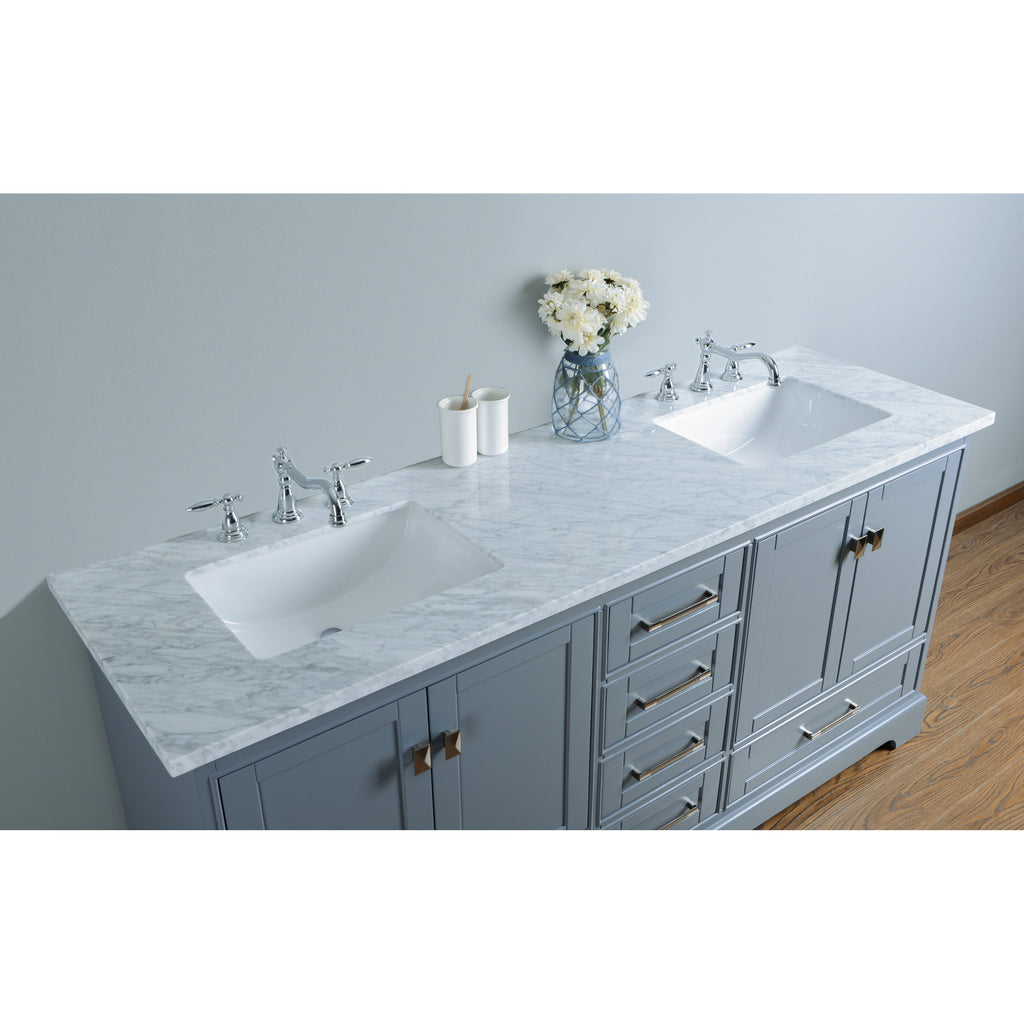 Stufurhome Newport Grey 72 Inch Double Sink Bathroom Vanity With Mirro Stufurhome