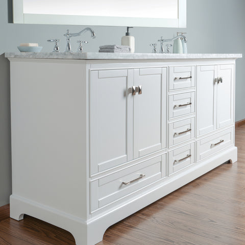 Stufurhome Newport White 72 inch Double Sink Bathroom Vanity with Mirror