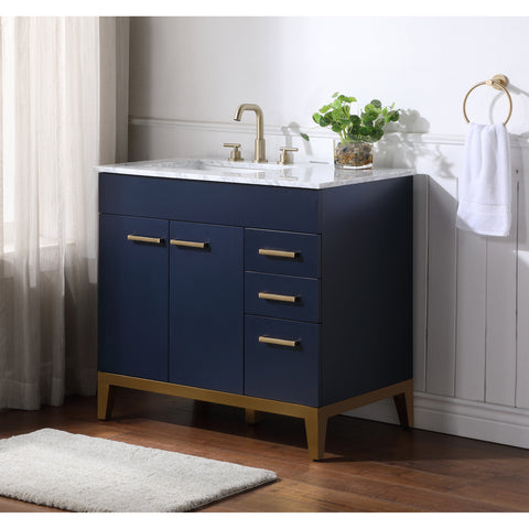 Stufurhome Alisson Dark Blue 36 inch Single Sink Bathroom Vanity