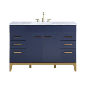 Stufurhome Alisson Dark Blue 48 inch Single Sink Bathroom Vanity