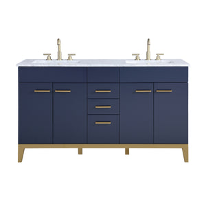 Stufurhome Alisson Dark Blue 60 inch Double Sink Bathroom Vanity