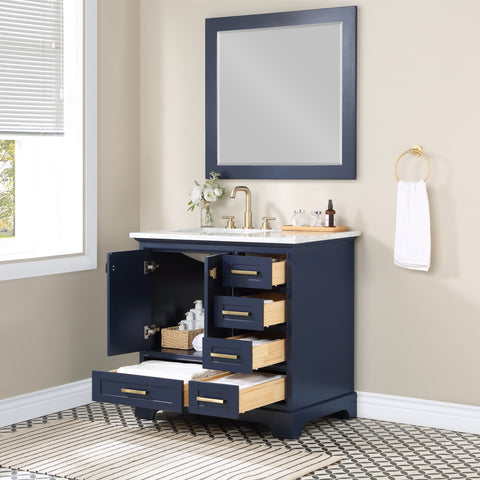 Stufurhome Brittany Dark Blue 36 inch Single Sink Bathroom Vanity with Mirror