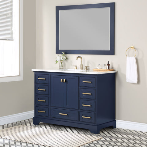 Stufurhome Brittany Dark Blue 48 inch Single Sink Bathroom Vanity with Mirror