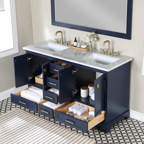 Stufurhome Brittany Dark Blue 60 inch Double Sink Bathroom Vanity with Mirror