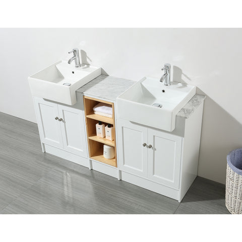 Stufurhome Zevan 59 Inch White Double Sink Bathroom Vanity