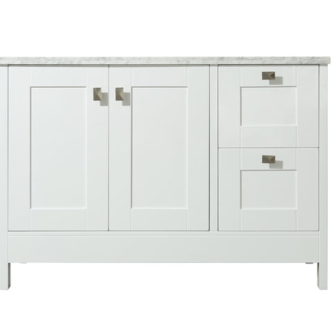 Stufurhome Calypso 48 Inch White Single Sink Bathroom Vanity