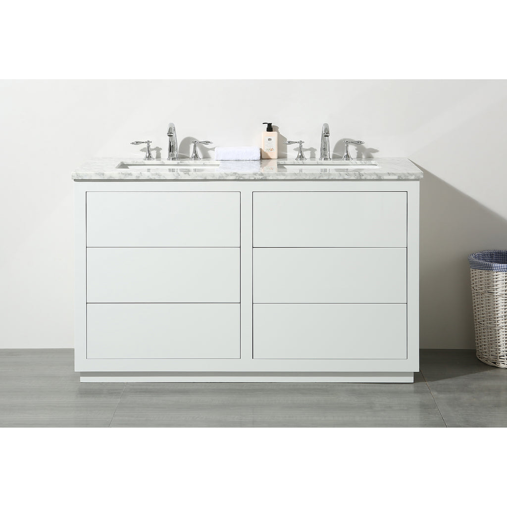 Stufurhome Lang 56 Inch White Double Sink Bathroom Vanity