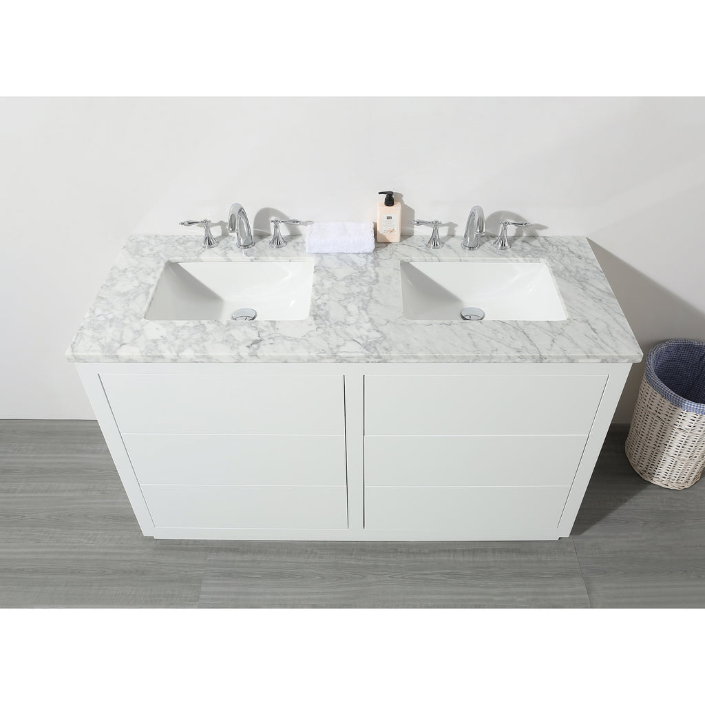 Stufurhome Lang 56 Inch White Double Sink Bathroom Vanity Stufurhome