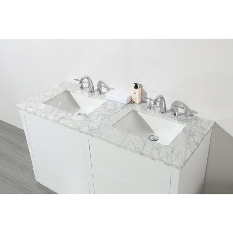 Stufurhome Lang 56 Inch White Double Sink Bathroom Vanity ...