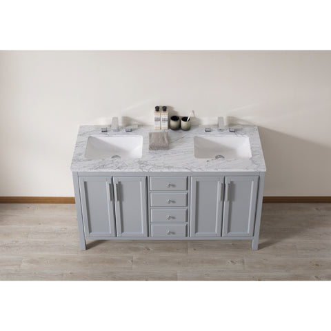 Stufurhome Wright 59 Inch Grey Double Sink Bathroom Vanity with Drains and Faucets in Chrome