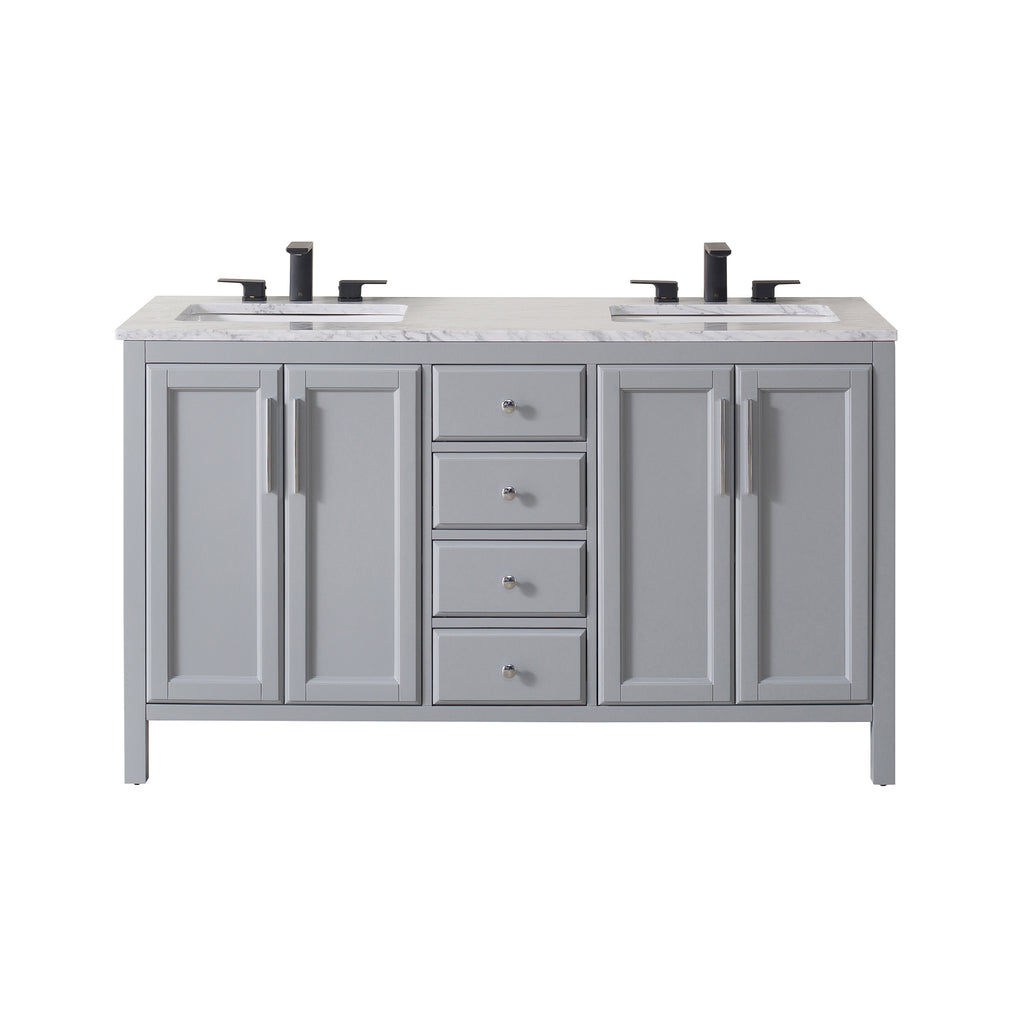 Pleasant Stufurhome Wright 59 Inch Grey Double Sink Bathroom Vanity Download Free Architecture Designs Scobabritishbridgeorg