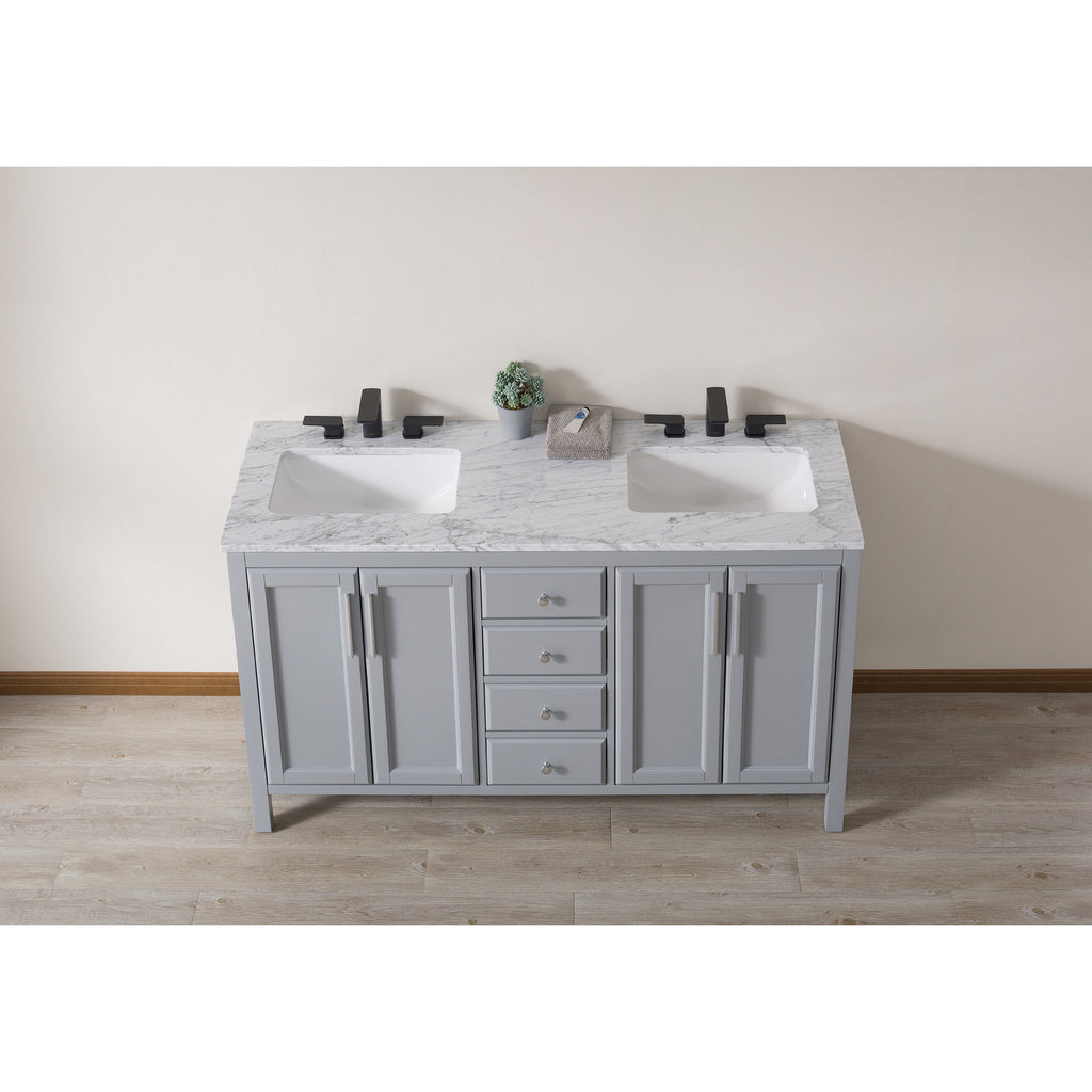 Stufurhome Wright 59 Inch Grey Double Sink Bathroom Vanity with Drains and Faucets in Matte Black