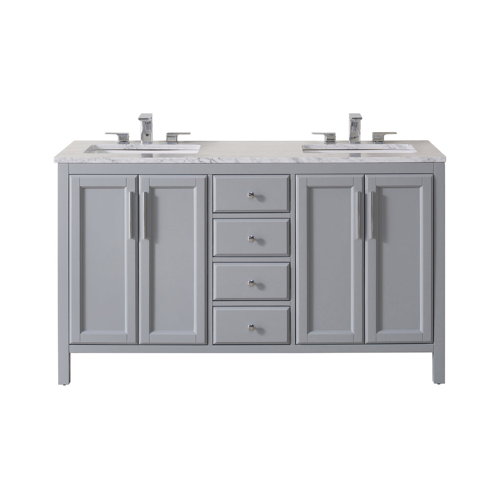 Stufurhome Wright 59 Inch Grey Double Sink Bathroom Vanity
