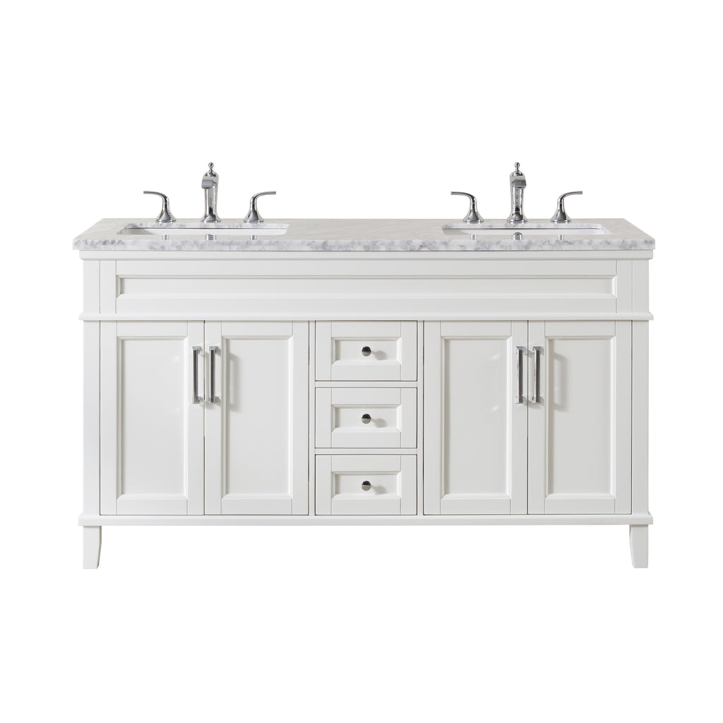 Stufurhome Melody 59 Inch White Double Sink Bathroom Vanity With