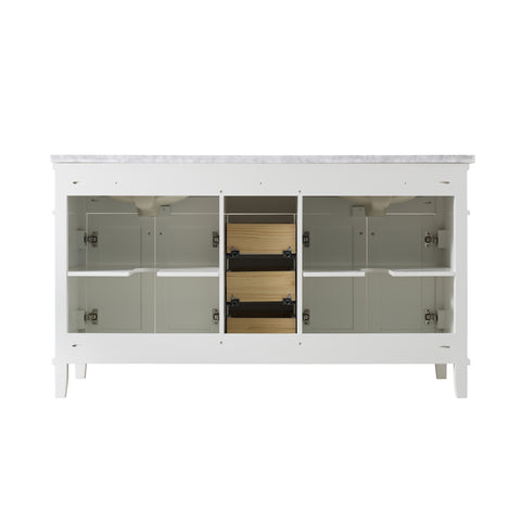 Stufurhome Melody 59 Inch White Double Sink Bathroom Vanity with Drains and Faucets in Chrome