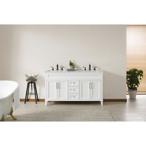 Stufurhome Melody 59 Inch White Double Sink Bathroom Vanity with Drains and Faucets in Matte Black