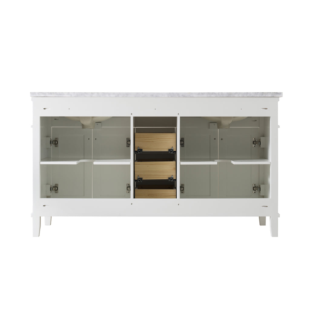 Stufurhome Melody 59 Inch White Double Sink Bathroom Vanity