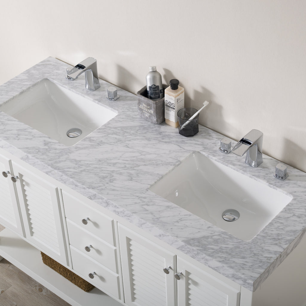 Stufurhome Luthor 60 Inch White Double Sink Bathroom Vanity with Drains and Faucets in Chrome
