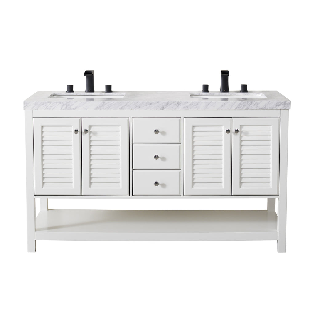 Stufurhome Luthor 60 Inch White Double Sink Bathroom Vanity with Drains and Faucets in Matte Black